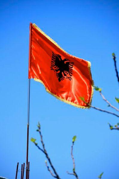 The Albanian flag.