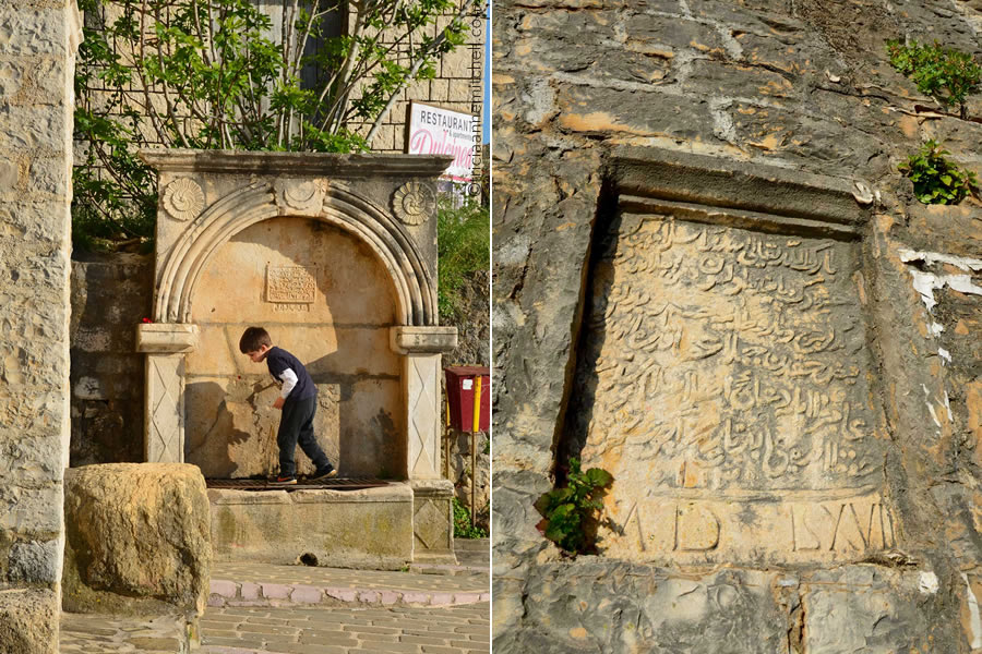 Ulcinj Montenegro fountain plus Arabic inscription