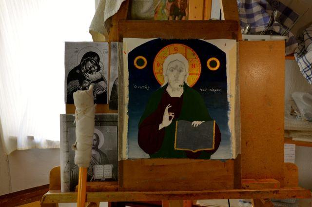 Byzantine icon workshop in Kastraki Dimitrios Moulas05