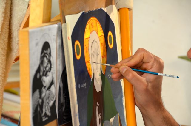 Byzantine icon workshop in Kastraki Dimitrios Moulas10