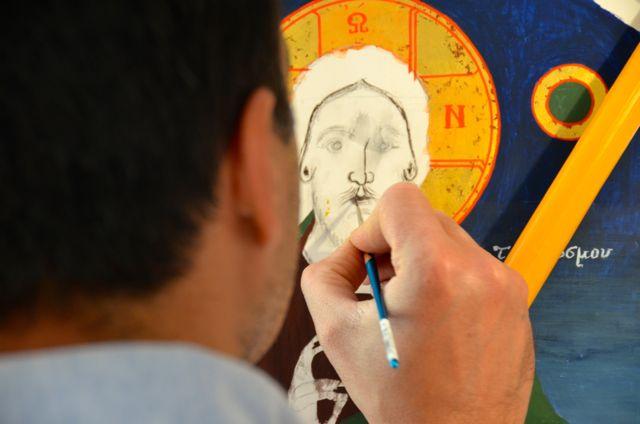Byzantine icon workshop in Kastraki Dimitrios Moulas14