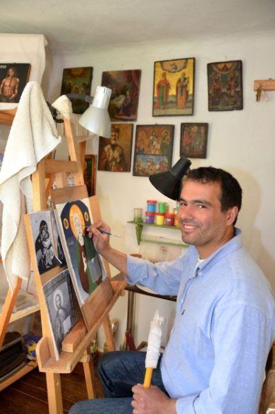 Byzantine icon workshop in Kastraki Dimitrios Moulas21