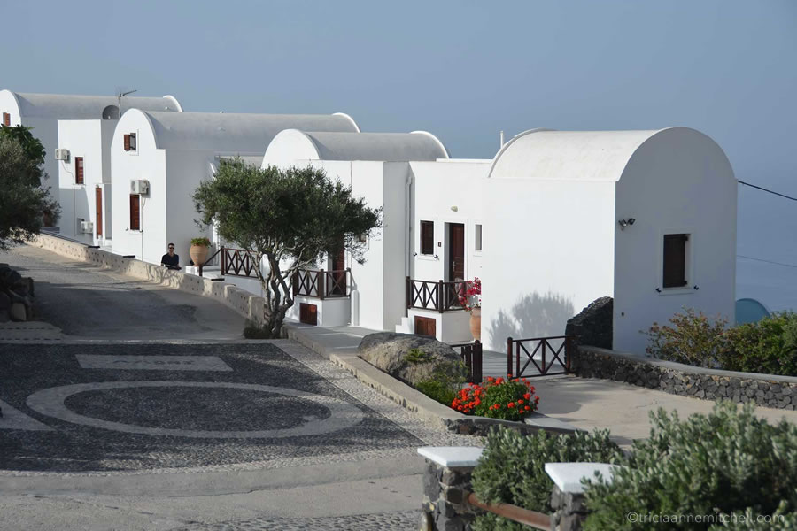A cluster of holiday apartments on the Greek island of Santorini.