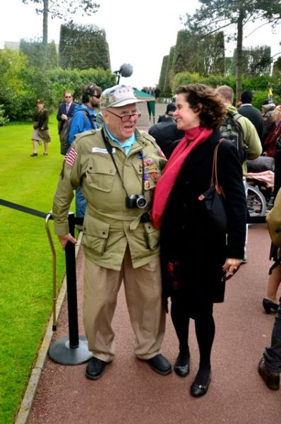 chattingwith american veteran in normandy