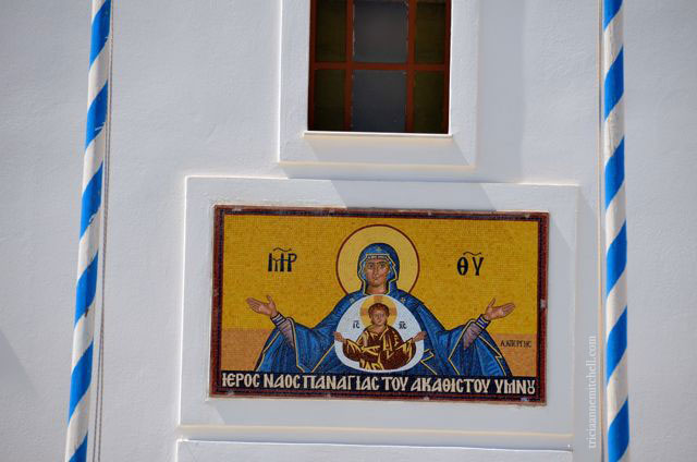 Detail of the Panagia Akathistos Church in Oia's center.