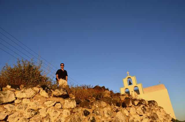 santorini church and shawn at sunset1