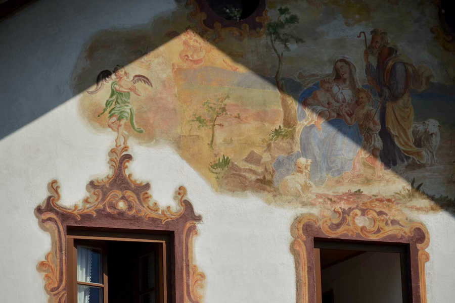 Fresco painted home Oberammergau, Germany on Maria Himmelfahrt Day