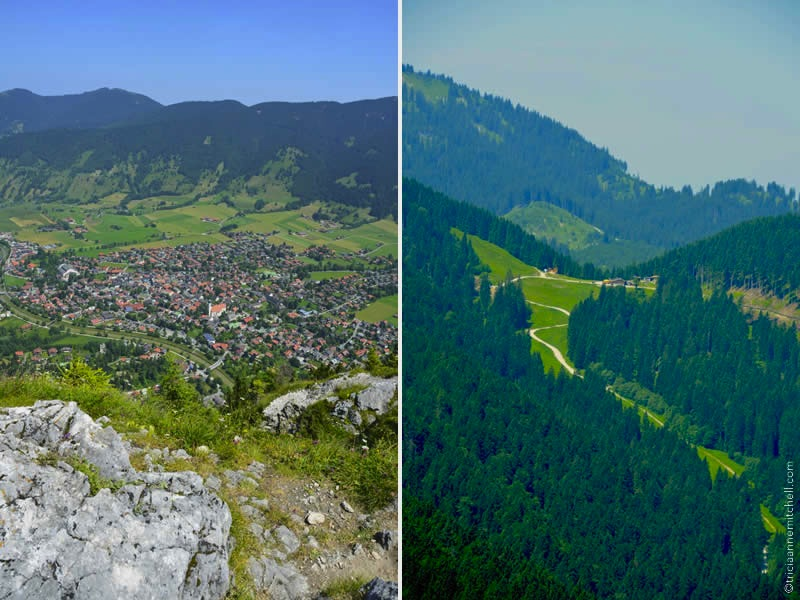 overhead view of oberammergau hotels, church, homes and nato school