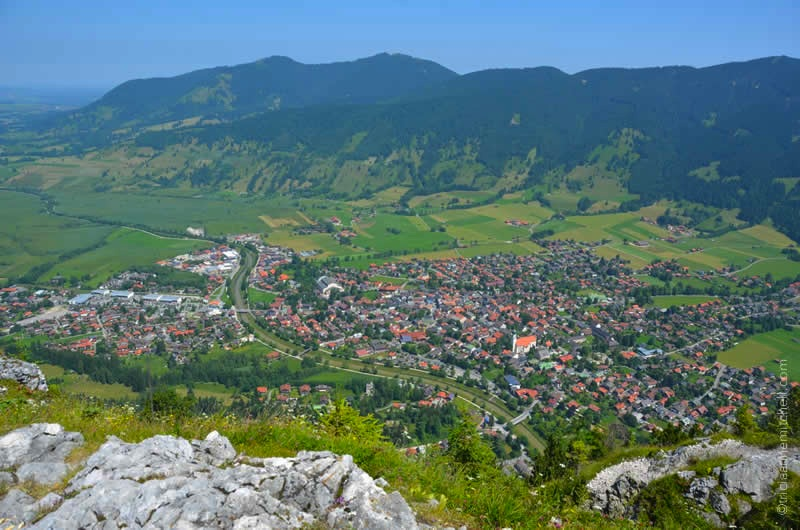 Overhead view of oberammergau church, hotels, homes and nato school