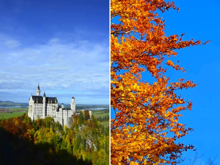 Neuschwanstein Castle, on an autumn day and blue skies overhead.