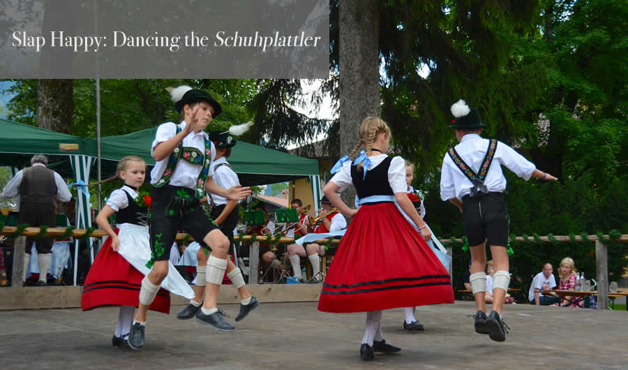 Schuhplattler German traditions folk dancers in Oberammergau 1