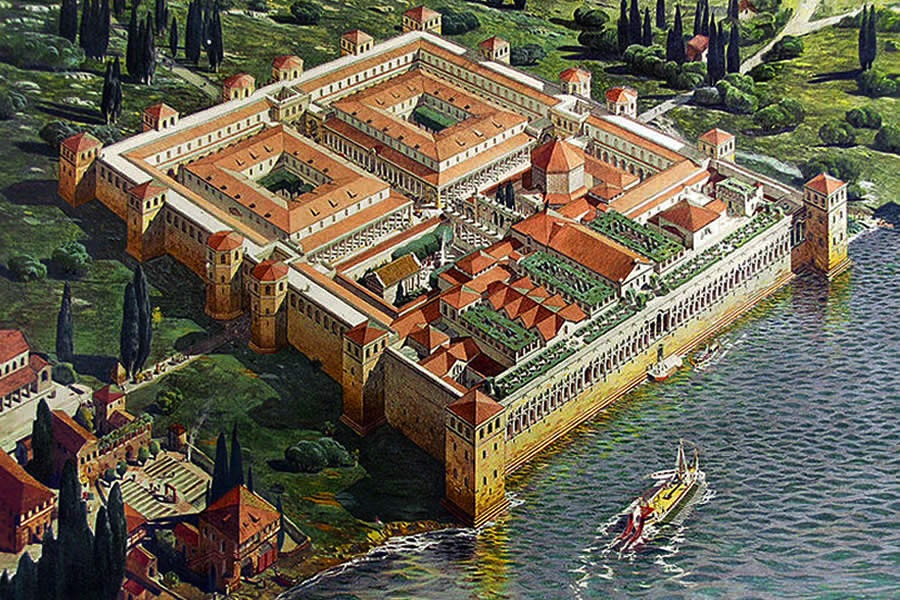 An artistic interpretation of Diocletian's Palace, as it might have originally looked. Image in the public domain.