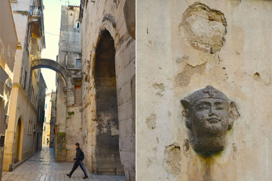 Sphinx Head in Split Courtyard and Gate to Palace