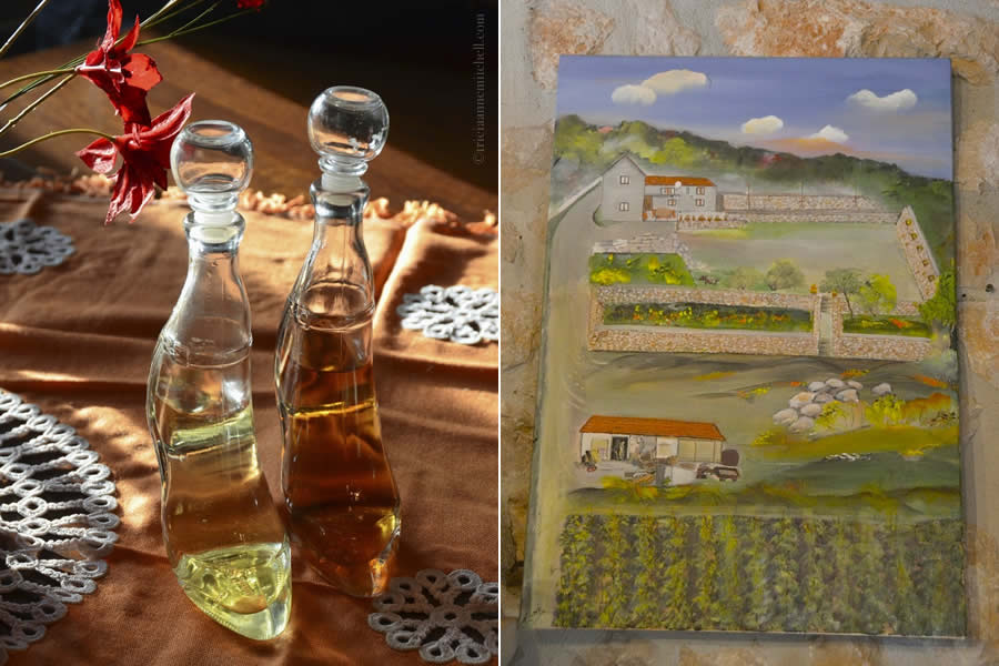 Bottles of Croatian Rajija atop table at the Krolo Winery, and a painting of the property