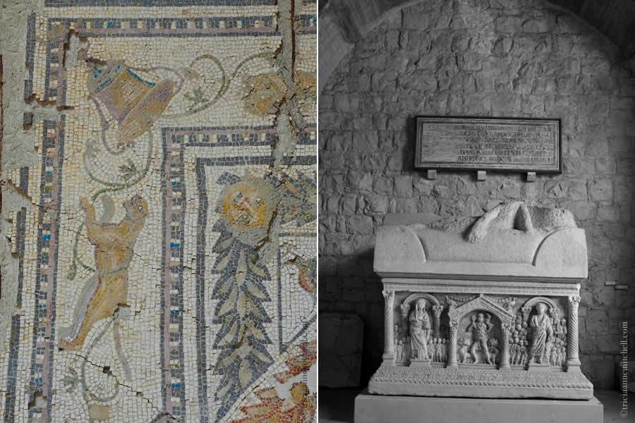 Mosaic tiles sarcophagus Split Archaeology Museum