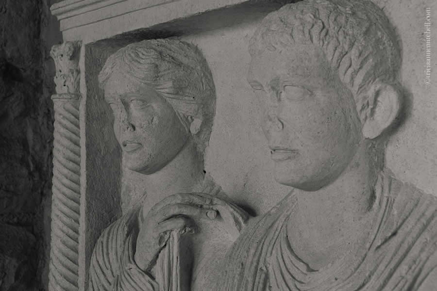 Roman headstone couple Split Archaeological Museum