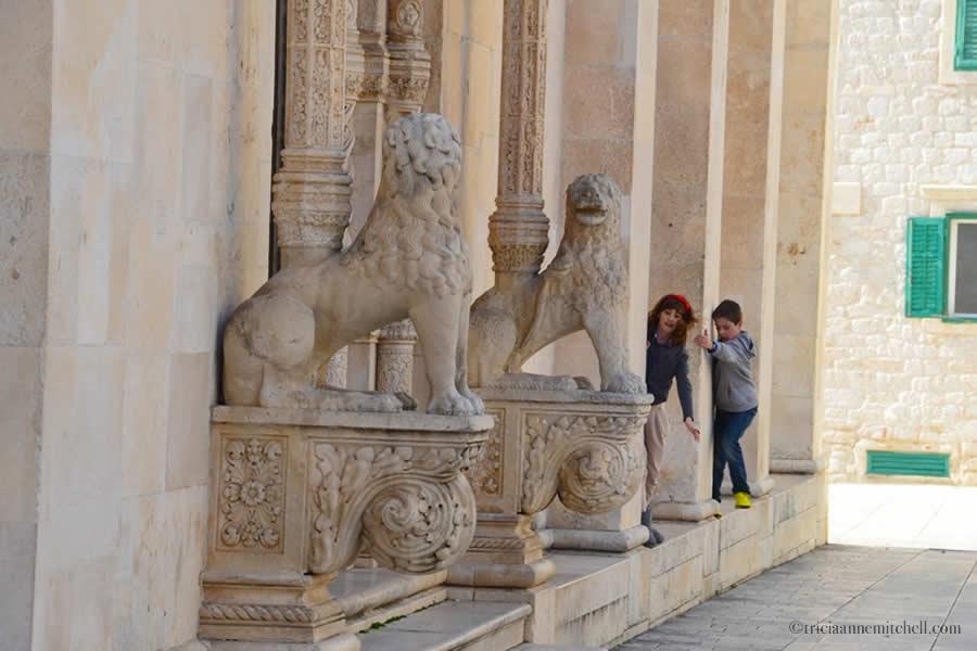 Sibenik Cathedral Croatia Children Playing lions