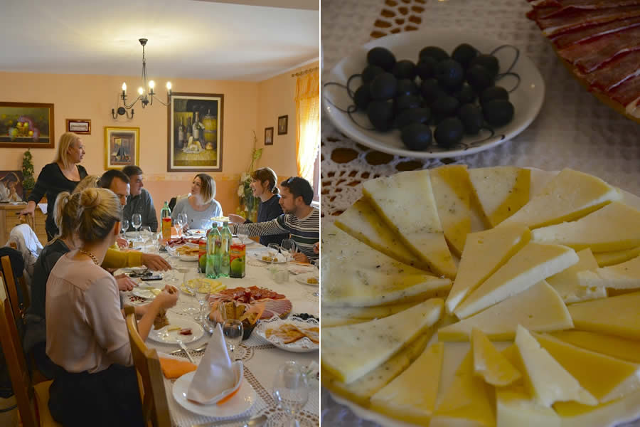 Krolo Winery Dining Room and Croatian Cheese Platter