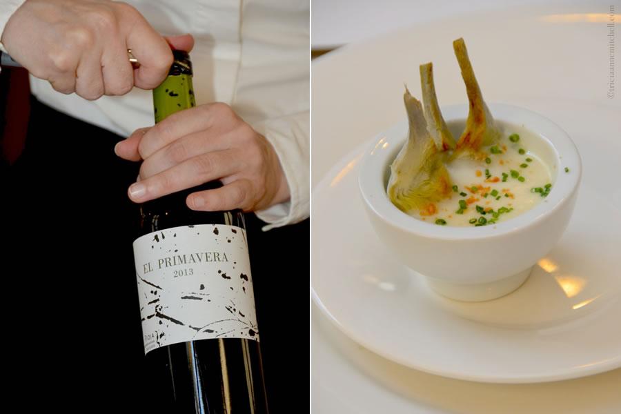 Bodegas de Rivas wine and artichoke starter