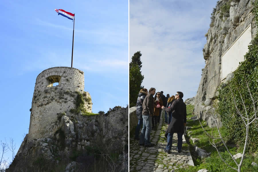 Klis Fortress - Oprah Tower with Croatian Flag