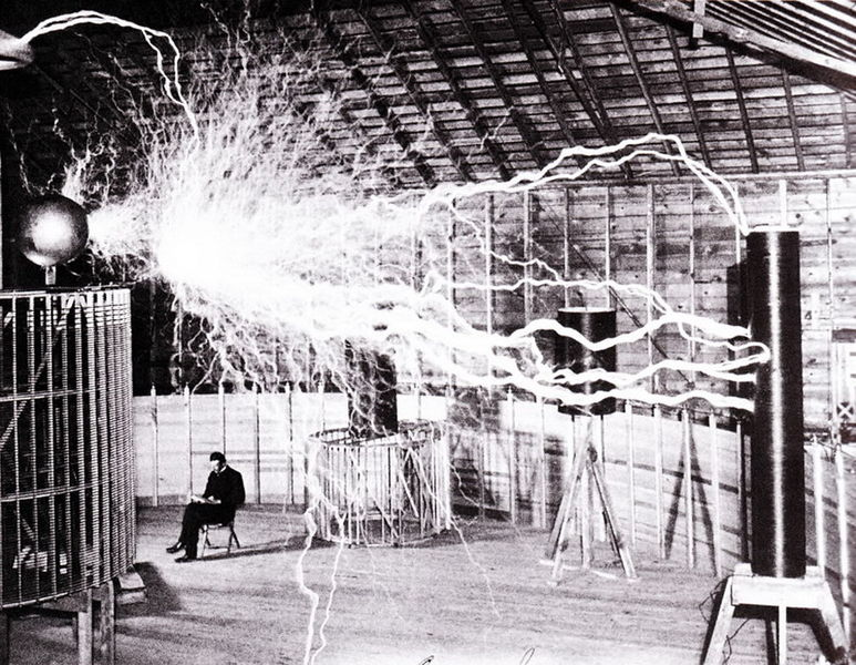 Nikola Tesla Lab Lightning  Public Domain