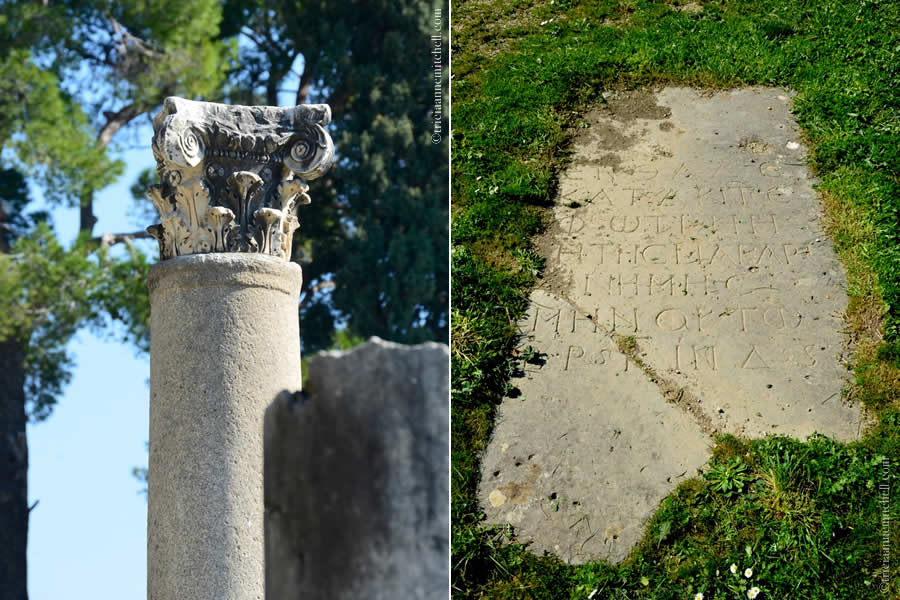 Detail of ruins inside Salona's Manastirine or monastery complex. On the left is a capital in the Composite order. On the right is headstone embedded in the ground. It appears to have Greek inscriptions.