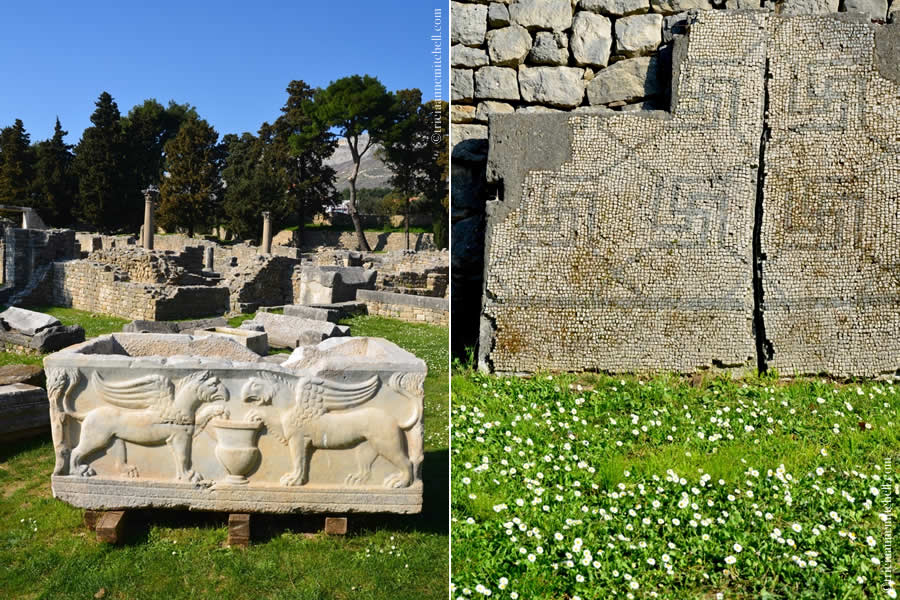 In the photo on the left is a white marble sarcophagus decorated with two griffins facing each other. In the photo on the right, sections of a Roman mosaic floor lean against a stone wall in Ancient Salona's Manastirine area.
