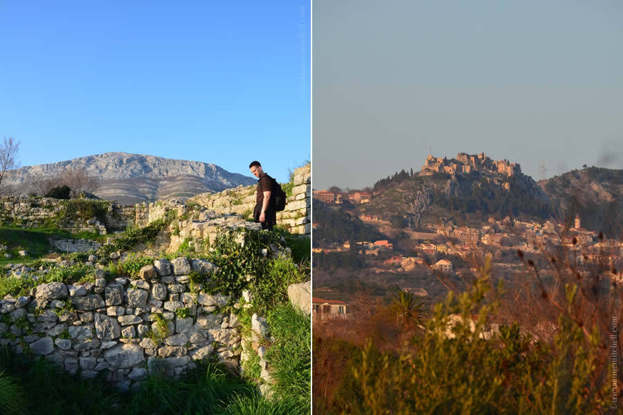 On the left, a male tourist explores the ruins of Ancient Salona. On the right is a view of the Klis Fortress, which is visible from ancient Salona.