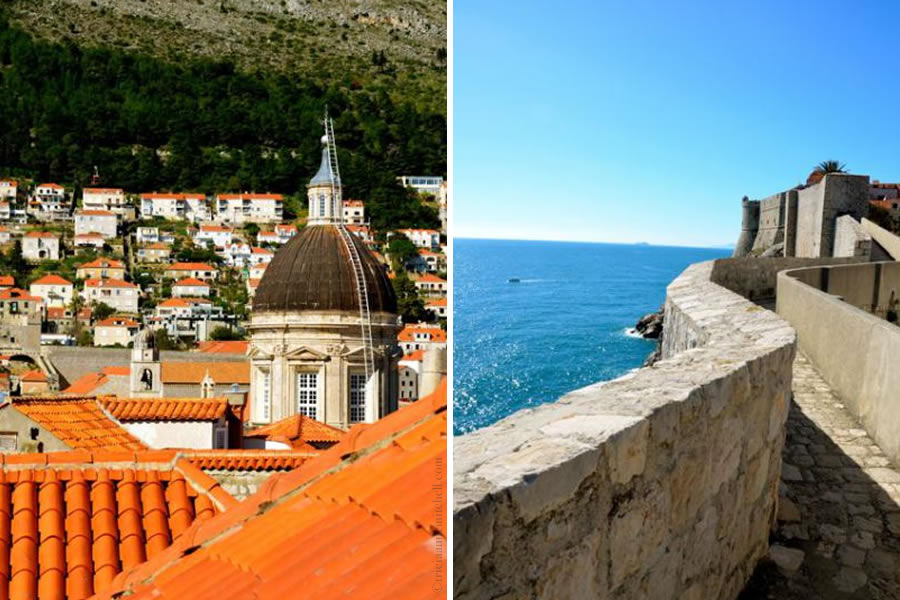 Dubrovnik Cathedral Dome and View from Walls