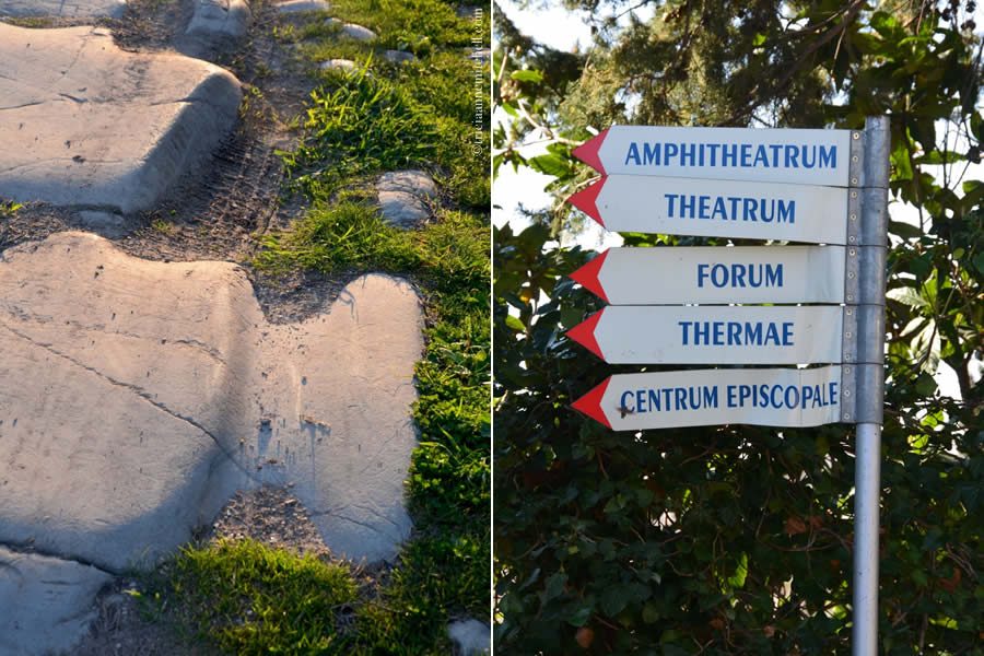 A Roman-era pavement is worn away by wagon wheel ruts in the image on the left. On the right, a sign points visitors to some of Salona's main attractions: Amphitheatrum, Theatrum, Forum, Thermae, Centrum Episcopale.