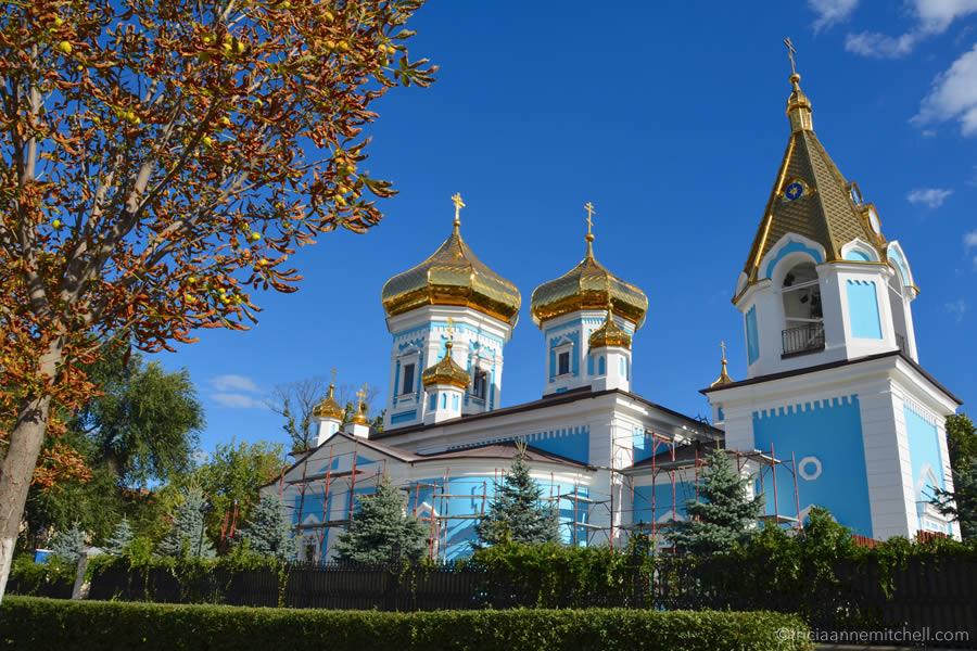 The exterior of St. Theodor Tiron Convent in Chisinau, Moldova.