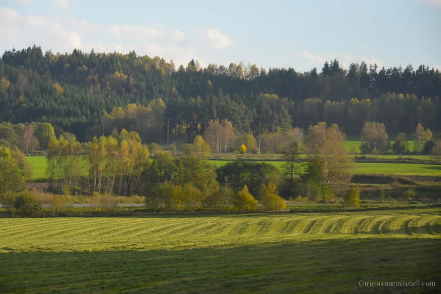 European countryside from train window
