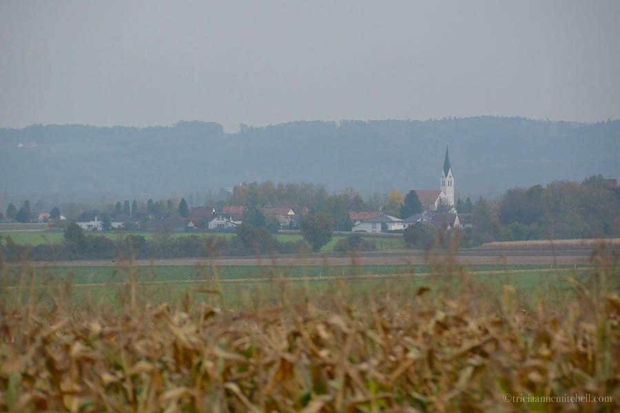 German countryside from train window