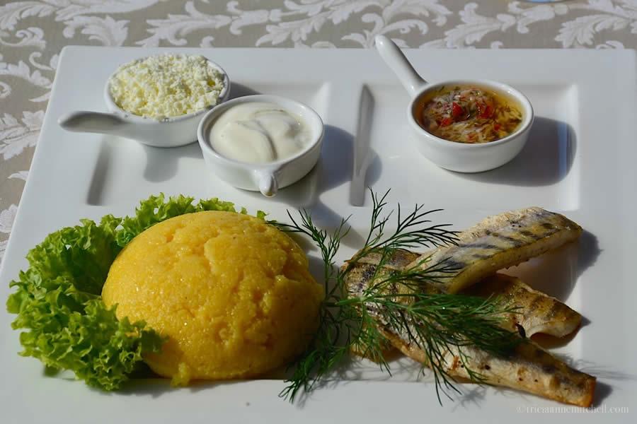 Moldovan Mamaliga with fish and dill Chateau Vartely