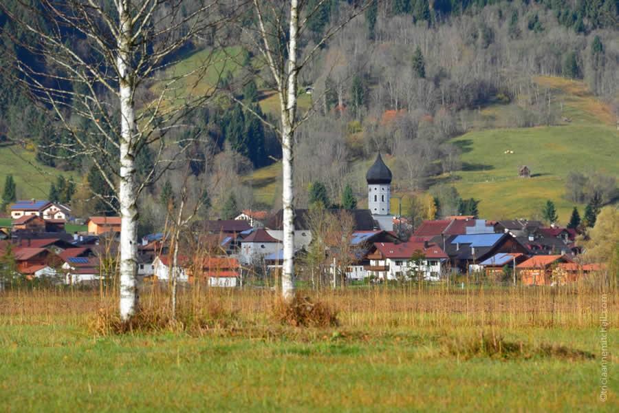 Unterammergau as seen through trees