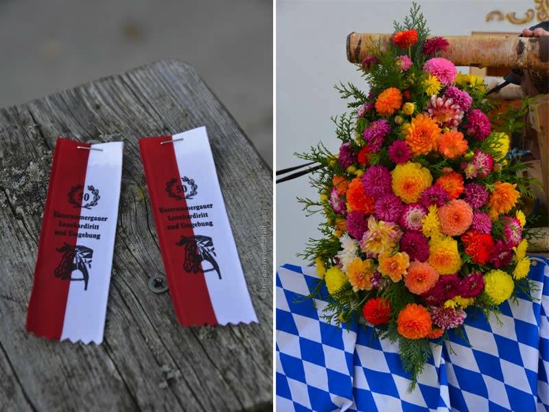 entrance ribbons and flowers for the Unterammergau Leonhardiritt