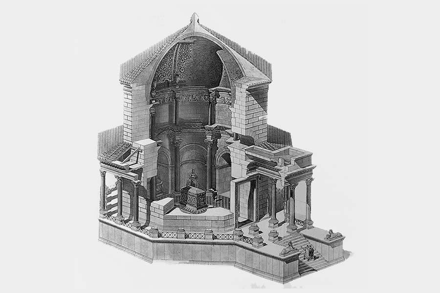 Diocletian's Mausoleum in Split Public Domain Drawing