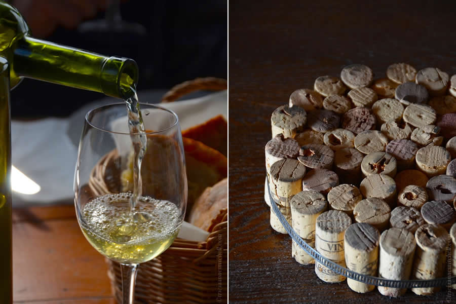 Croatian Marastina wine and wine cork trivet