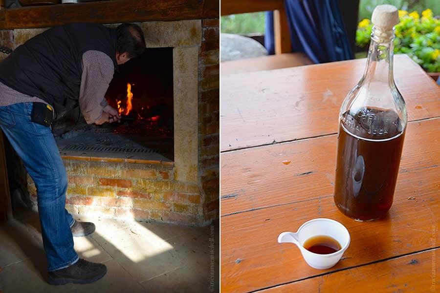 Tending Fire and Walnut Rakia in Bottle