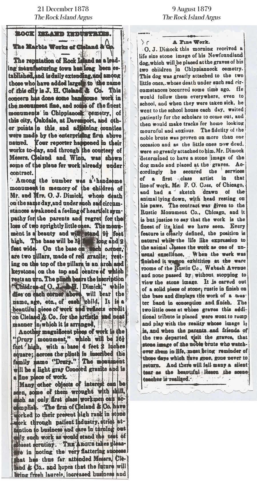 Dimick Dog Statue Chippiannock Newspaper Articles