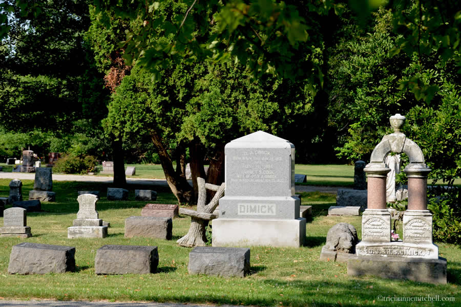 The Dimick family plot in Rock Island's Chippiannock cemetery features several graves. On the right is an arch-style monument for Eddie and Josie Dimick. A stone statue of a dog rests to the left of it. On the left there is a close-up of a faux tree-style stone chair. The surrounding trees and lawn are green.