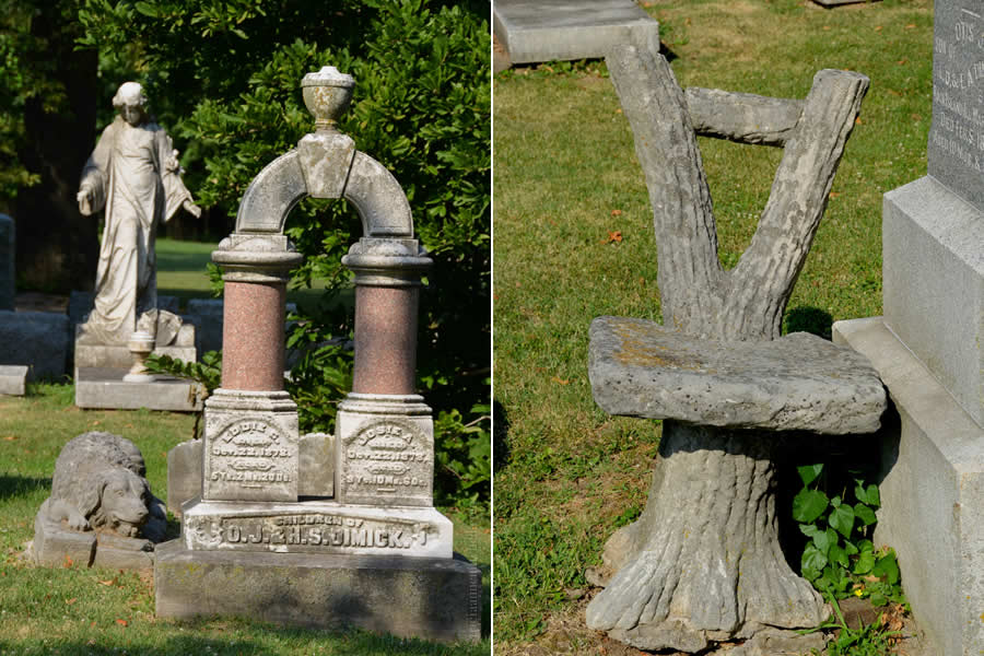 The Dimick family plot in Rock Island's Chippiannock cemetery features several graves. On the left is an arch-style monument for Eddie and Josie Dimick. A stone statue of a dog rests beside it. On the right, a close-up of a faux tree-style stone chair.