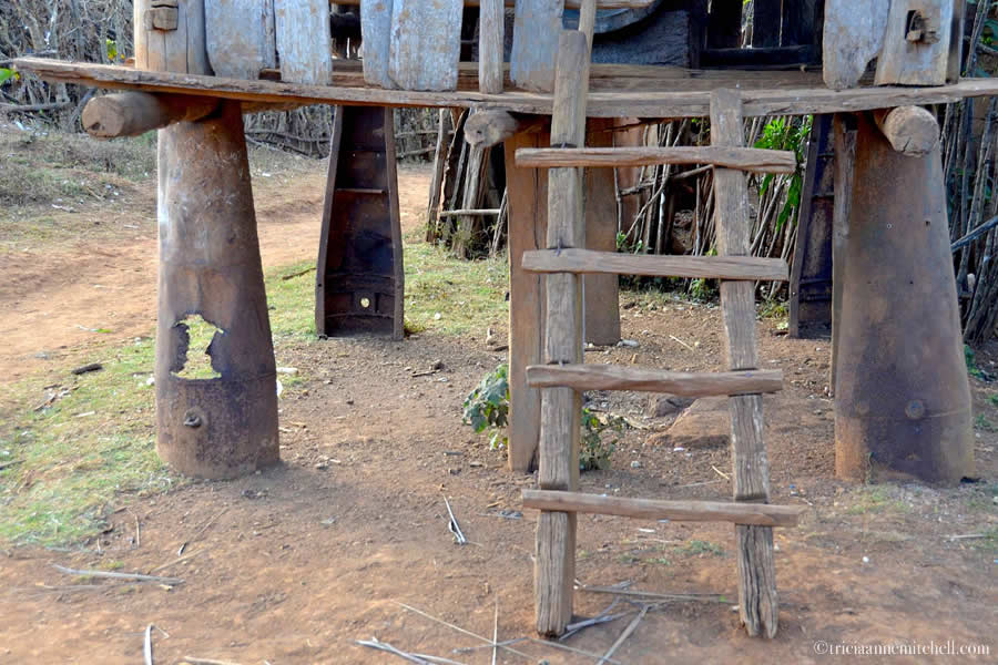 Bomb casing supports for home in Laos