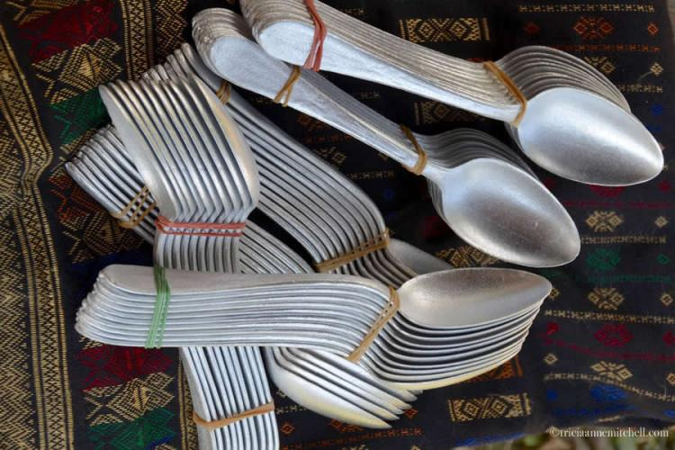 Laotian spoons made out of bombs