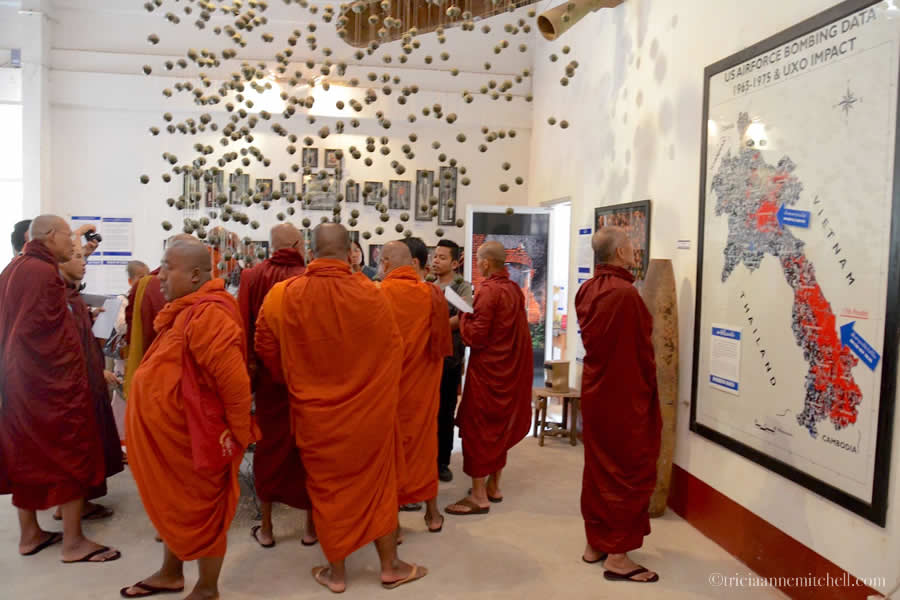 Monks visiting COPE Visitor Center Vientiane