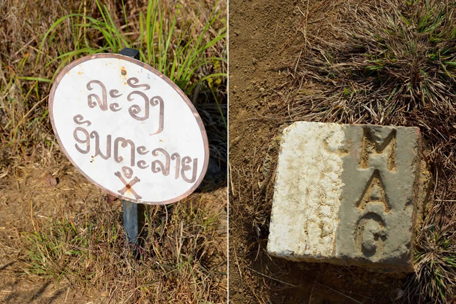 Unexploded Ordnance Laos warning signs