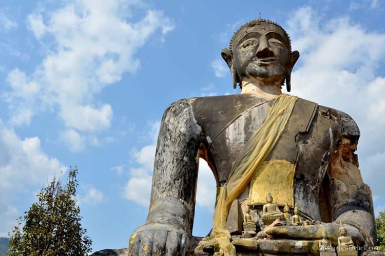 Wat Phia Wat Destroyed Buddha and Temple Laos