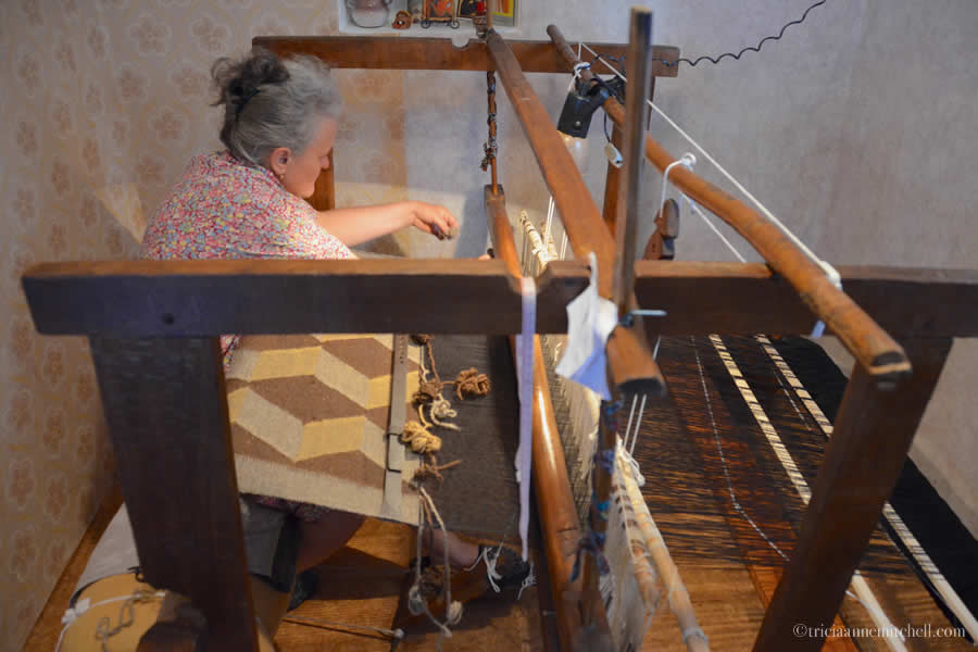 Weaving on Bulgarian Loom