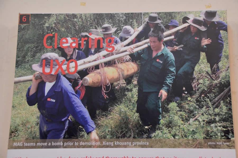 Clearing UXO Display from MAG Phonsavan Visitors Center