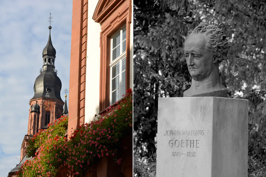 Heidelberg Holy Ghost Church and Goethe Bust